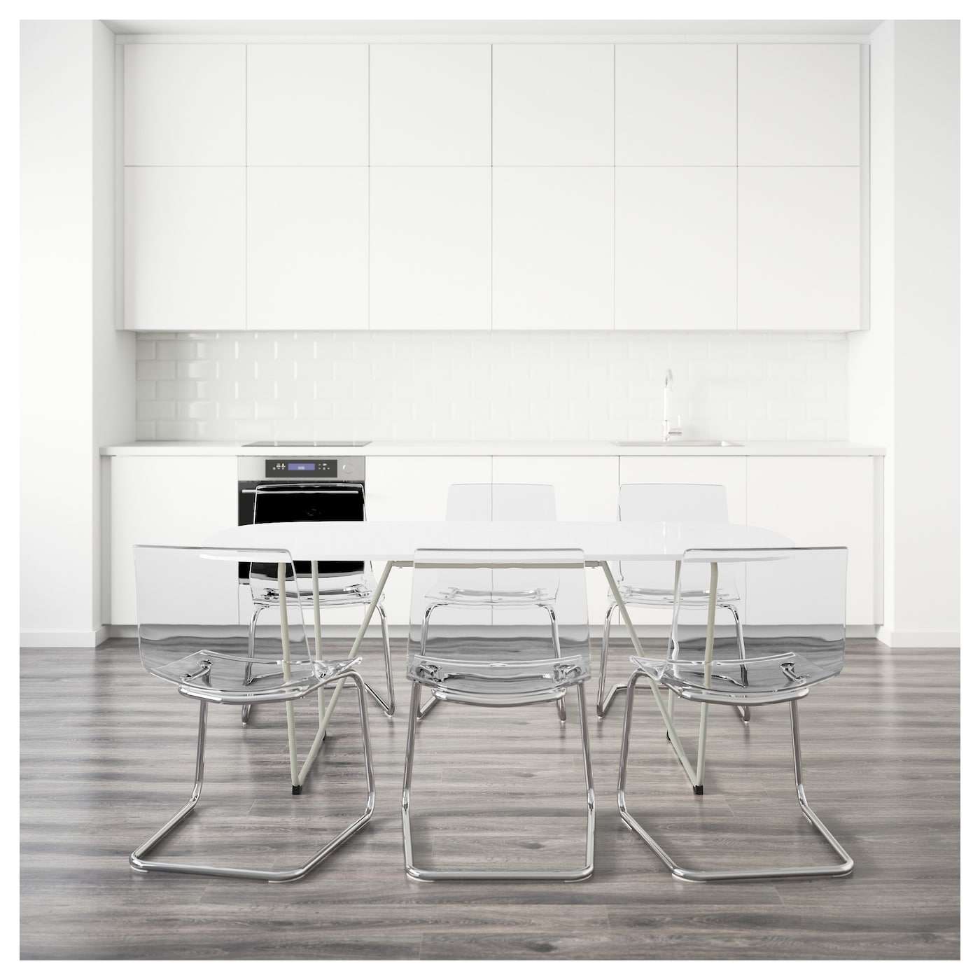 oppeby backaryd tobias table et 6 chaises blanc chrom transparent 185 cm ikea. Black Bedroom Furniture Sets. Home Design Ideas