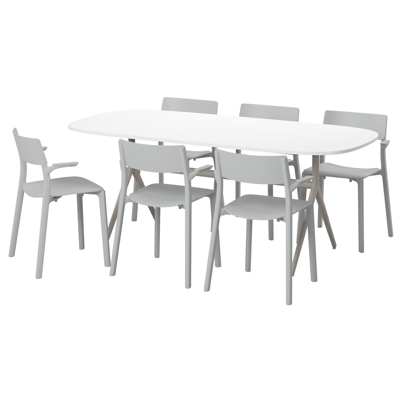 Oppeby oppmanna janinge table et 6 chaises brillant blanc for Table et 6 chaises ikea