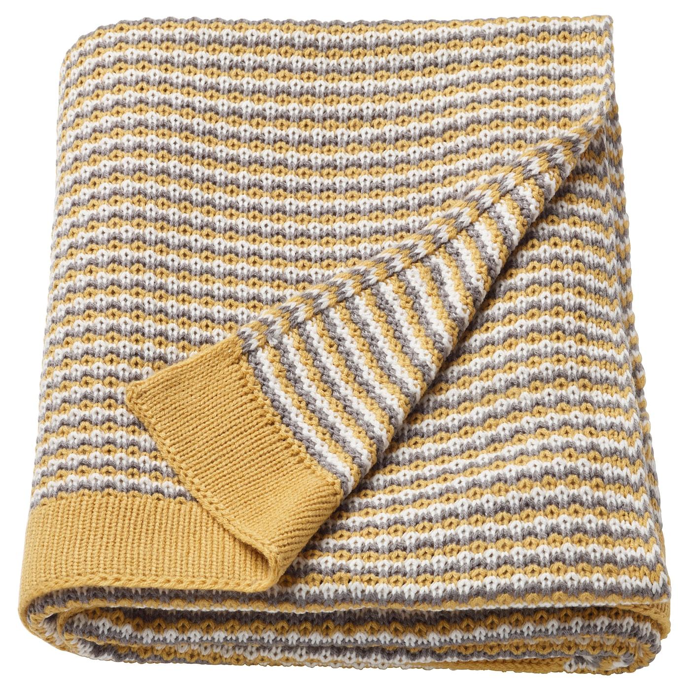 ormhassel plaid jaune gris 120 x 180 cm ikea. Black Bedroom Furniture Sets. Home Design Ideas