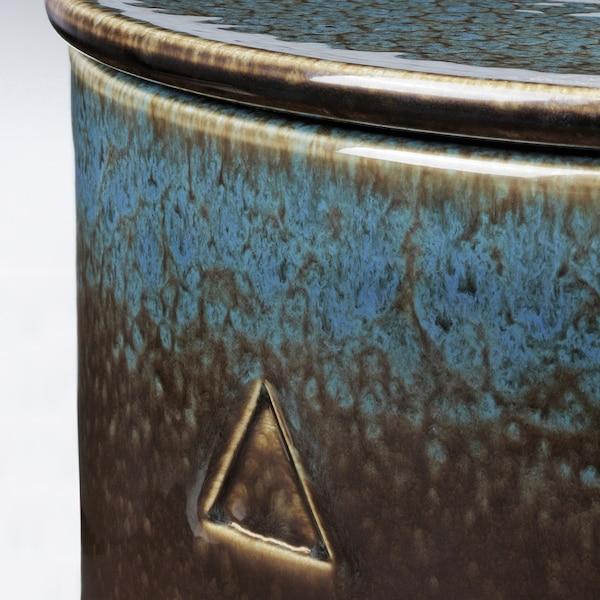 OSYNLIG Bougie parf en pot 4 mèches/cvcle, tabac et miel/noir bleu, 9 cm