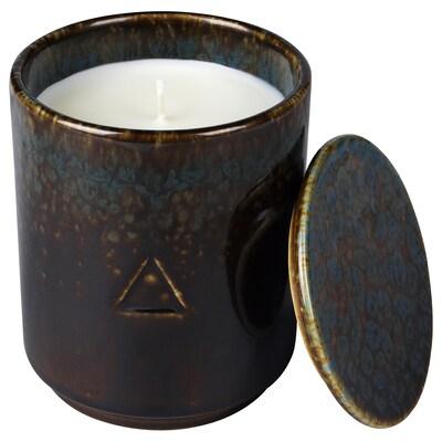 OSYNLIG Bougie parfumée pot/couvercle, tabac et miel/noir bleu, 10 cm