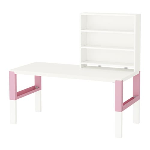 P hl bureau avec tablette blanc rose ikea for Bureau blanc et rose