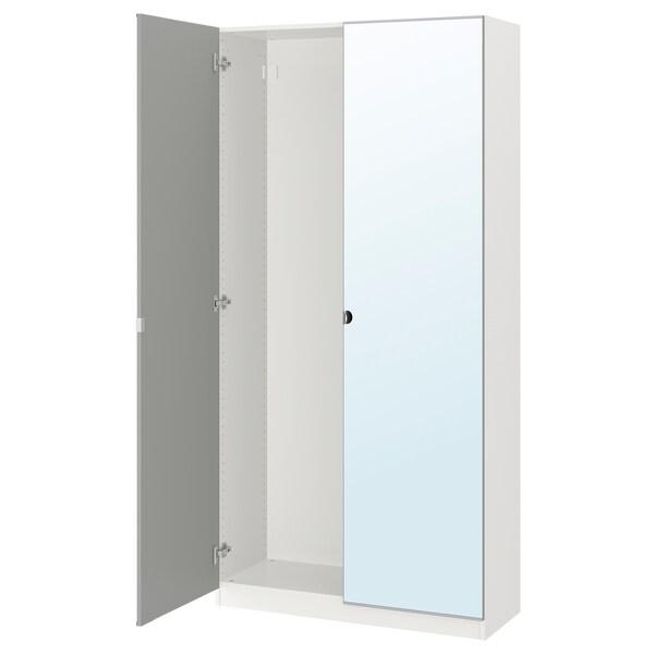 PAX Armoire 2 portes, blanc/Vikedal miroir, 100x38x201 cm