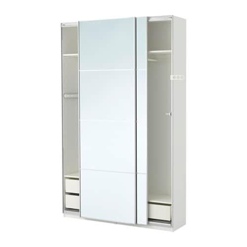 pax armoire-penderie blanc/auli miroir 150x44x236 cm - ikea