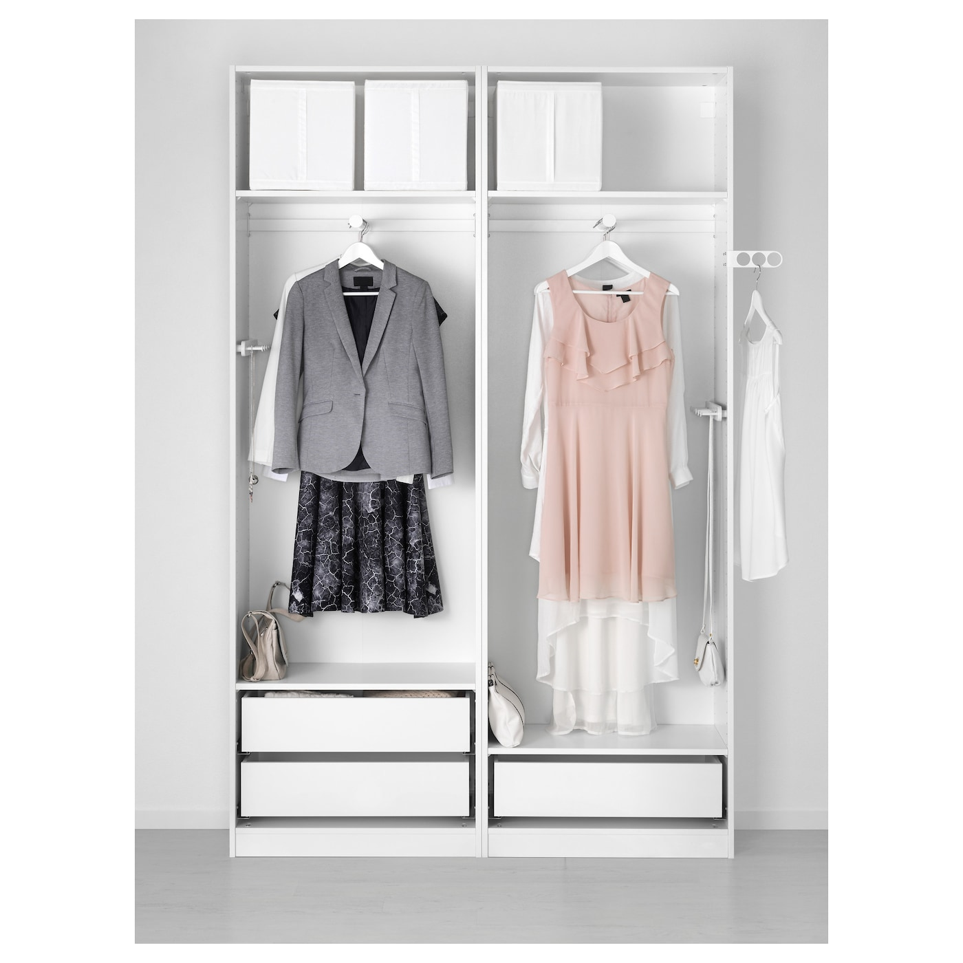 pax armoire penderie blanc auli miroir 150x44x236 cm ikea. Black Bedroom Furniture Sets. Home Design Ideas