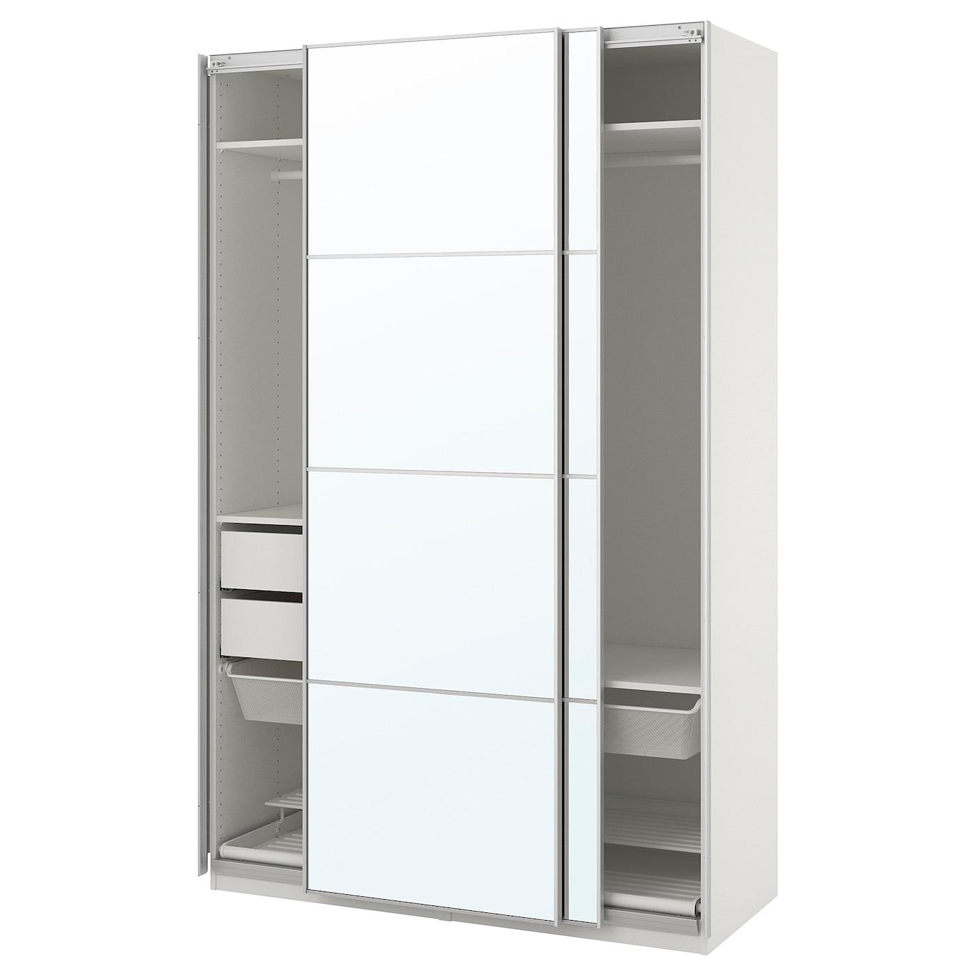 Pax armoire penderie blanc auli miroir 150x66x236 cm ikea - Armoire penderie miroir ...