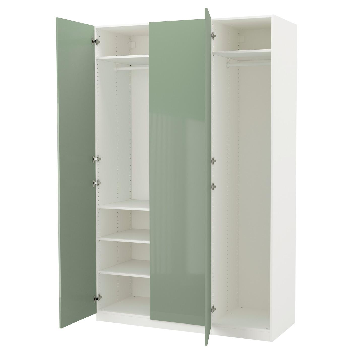 pax armoire penderie blanc fardal brillant vert clair 150x60x236 cm ikea. Black Bedroom Furniture Sets. Home Design Ideas