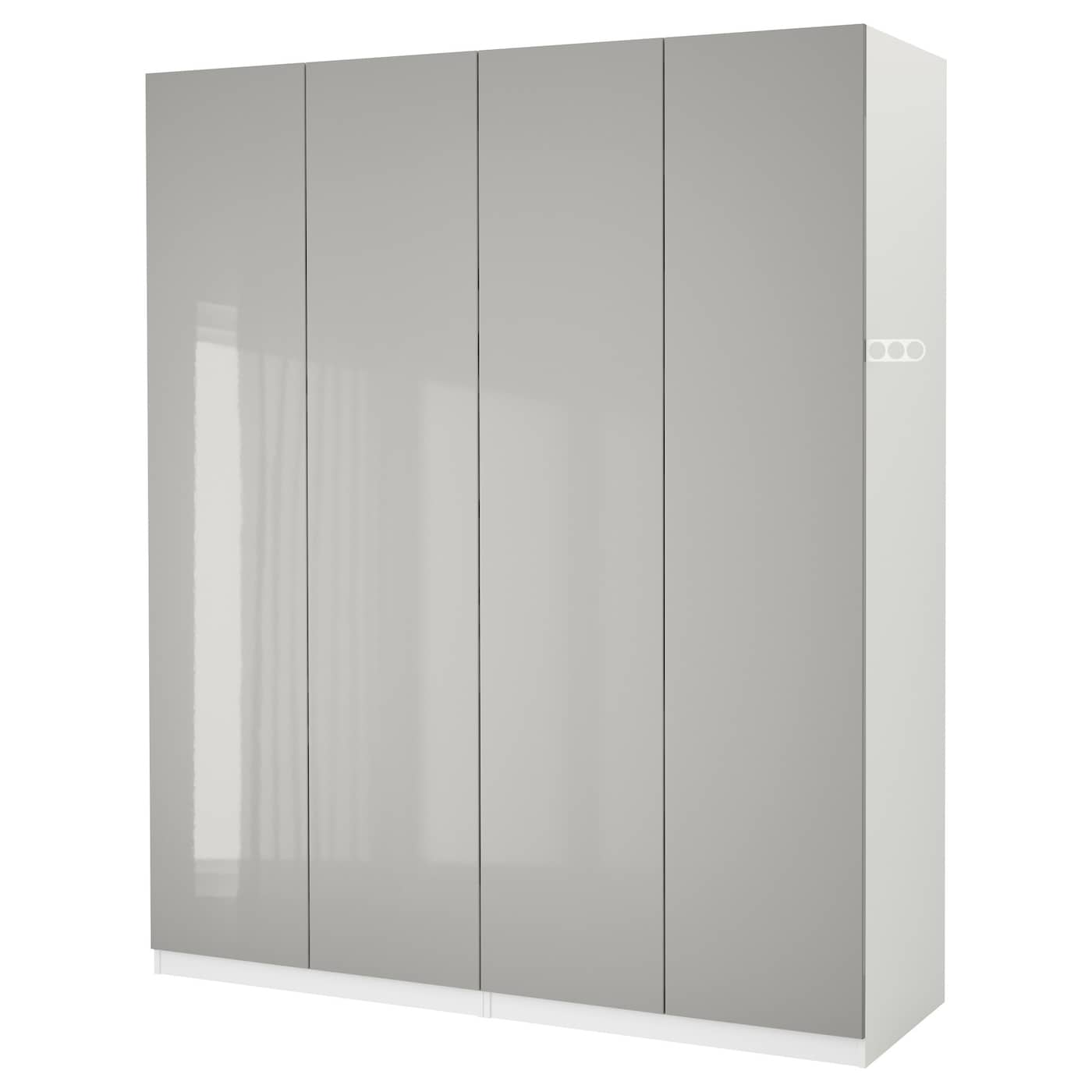 pax armoire penderie blanc fardal gris clair brillant 200x60x236 cm ikea. Black Bedroom Furniture Sets. Home Design Ideas