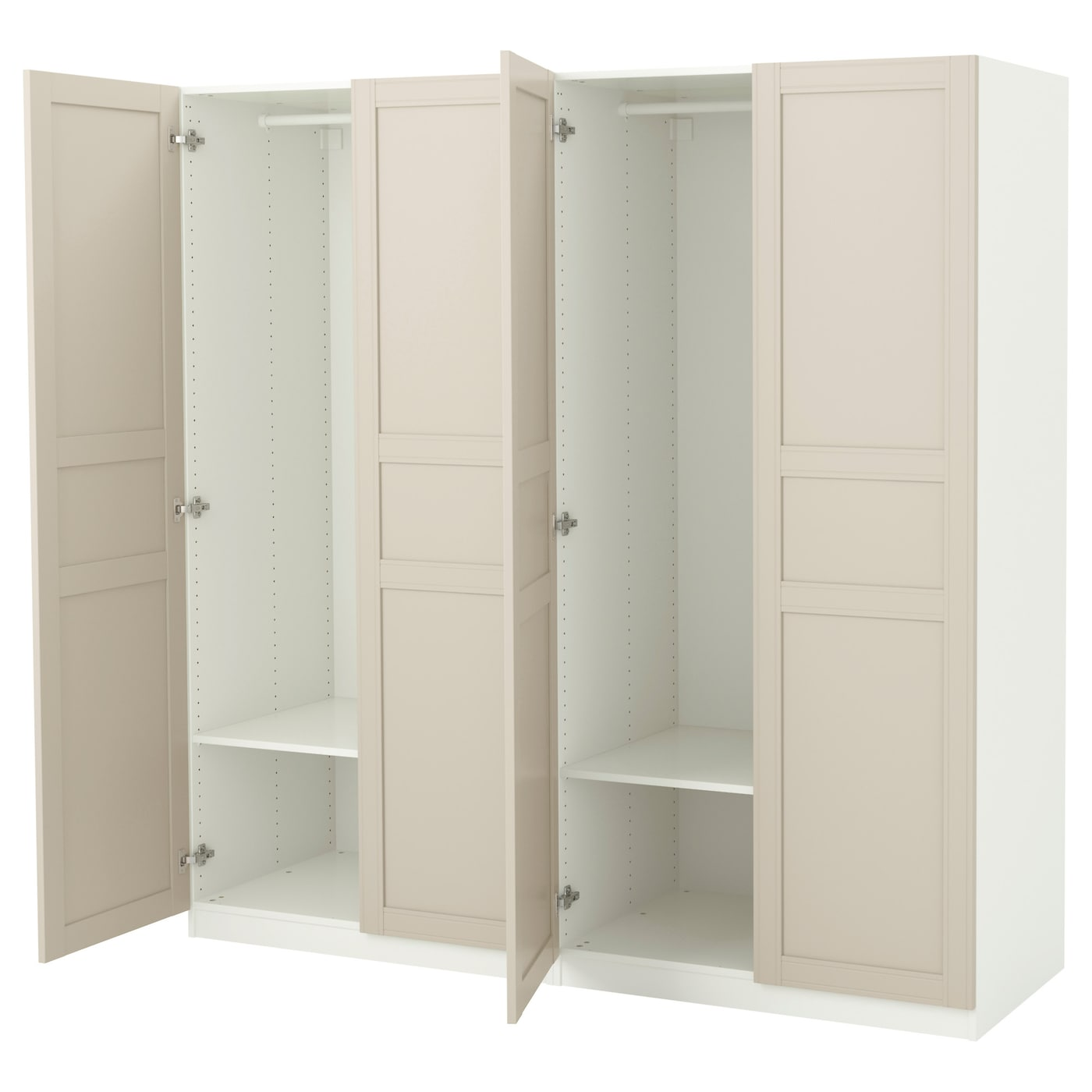 pax armoire penderie blanc flisberget beige clair 200 x 60 x 201 cm ikea. Black Bedroom Furniture Sets. Home Design Ideas