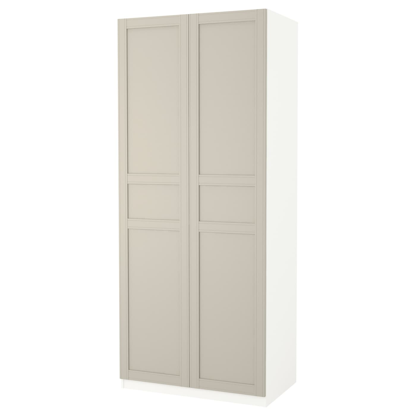 pax armoire penderie blanc flisberget beige clair 100 x 60 x 236 cm ikea. Black Bedroom Furniture Sets. Home Design Ideas