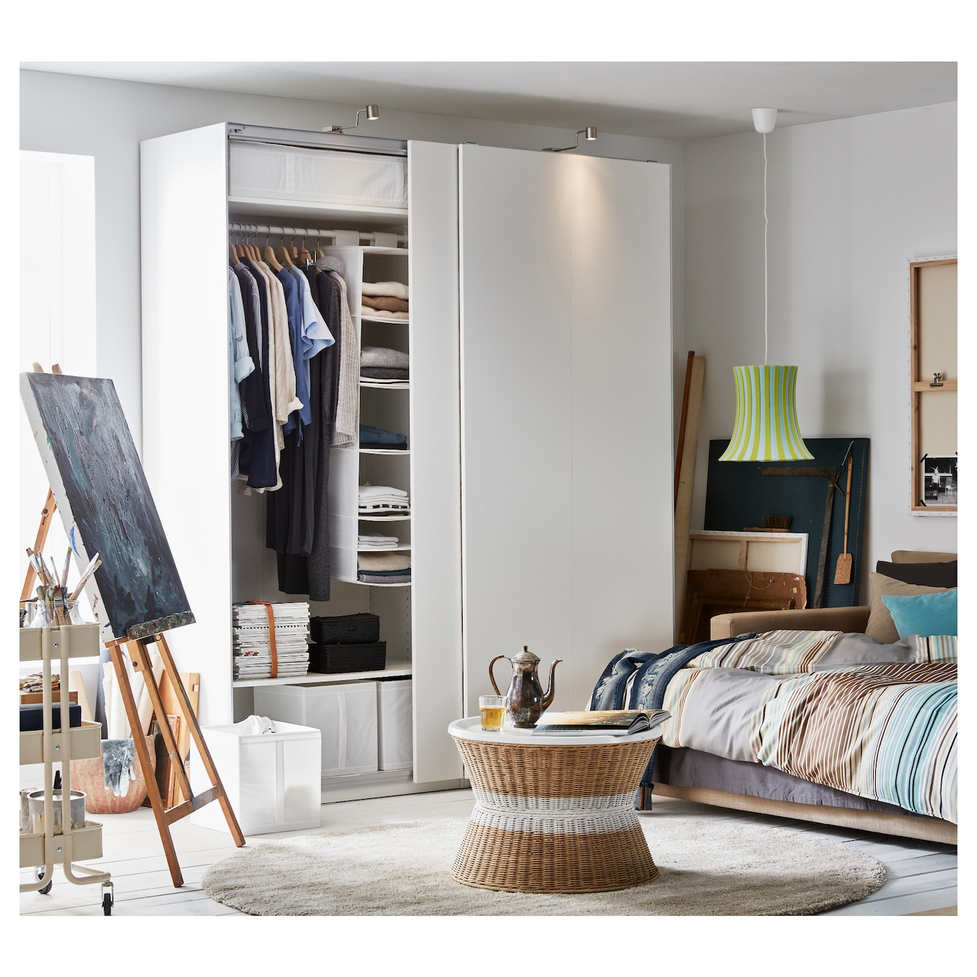 pax armoire penderie blanc hasvik blanc 200 x 66 x 236 cm. Black Bedroom Furniture Sets. Home Design Ideas