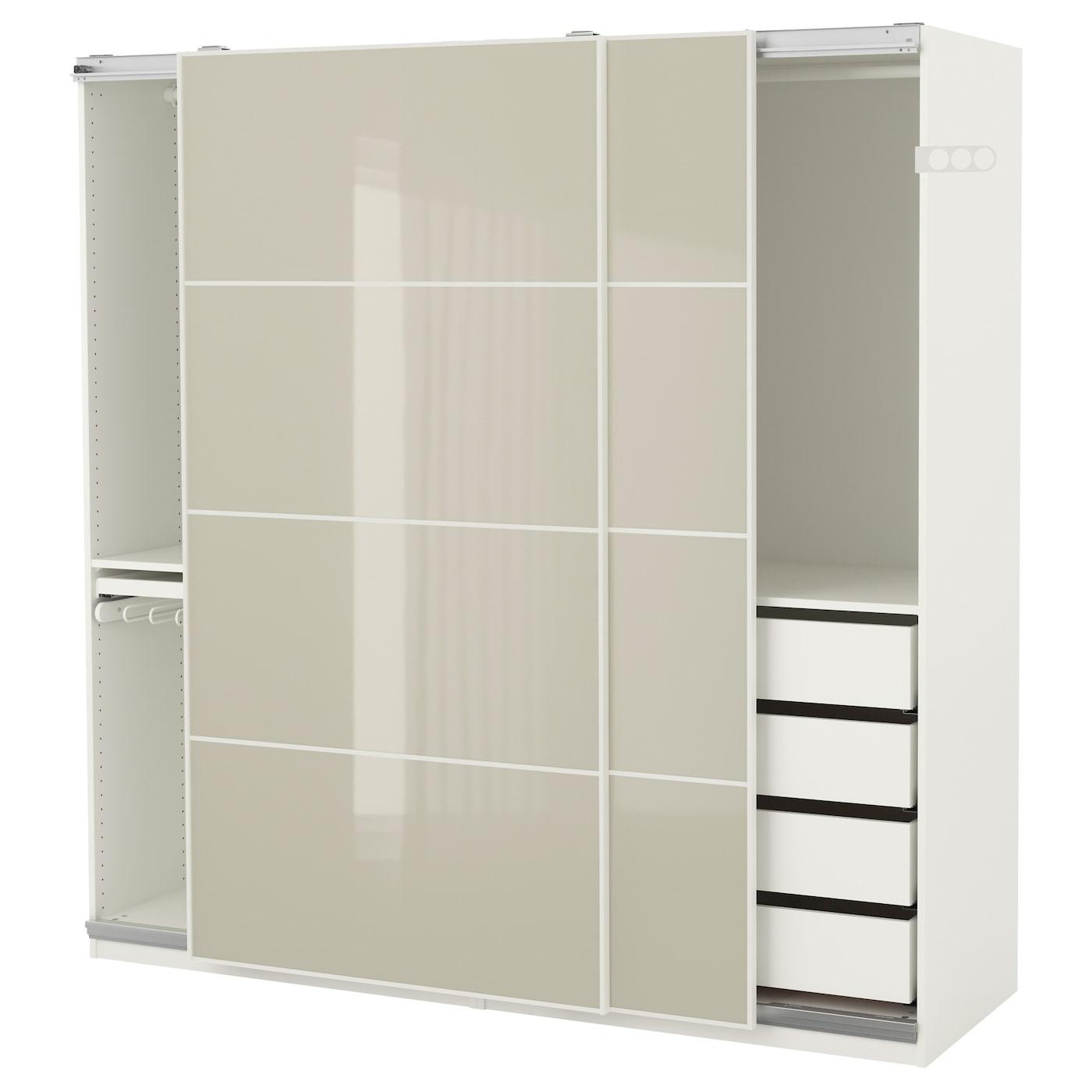 pax armoire penderie blanc hokksund brillant beige clair 200x66x201 cm ikea. Black Bedroom Furniture Sets. Home Design Ideas