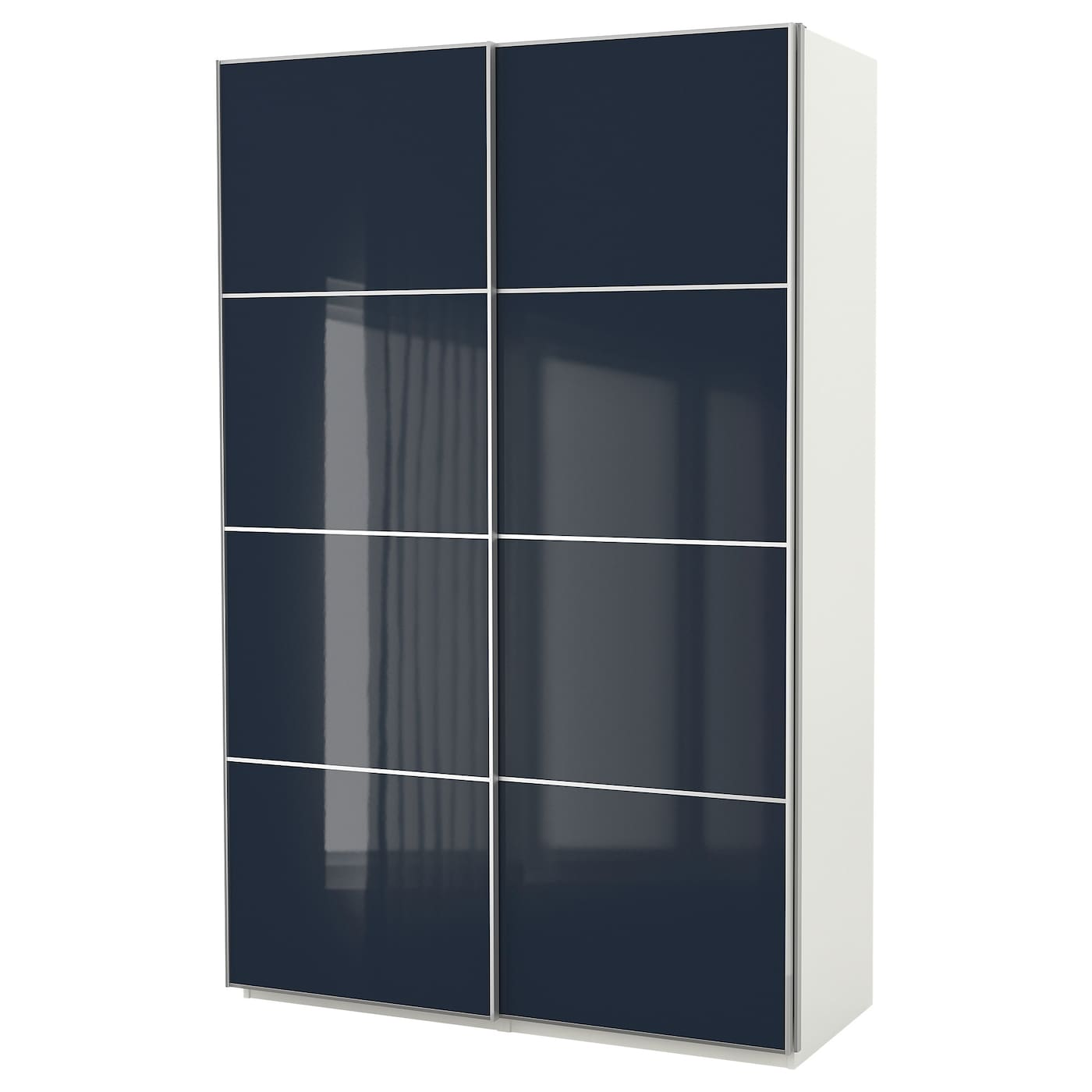 pax armoire penderie blanc hokksund brillant bleu noir 150 x 66 x 236 cm ikea. Black Bedroom Furniture Sets. Home Design Ideas