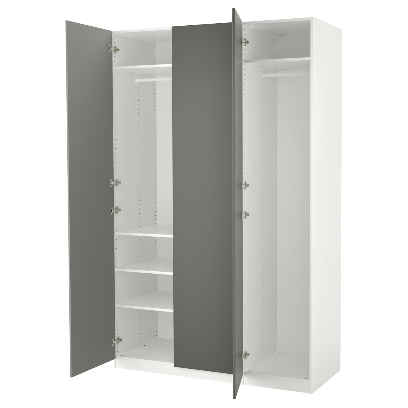 pax armoire penderie blanc reinsvoll gris vert 150x60x236. Black Bedroom Furniture Sets. Home Design Ideas