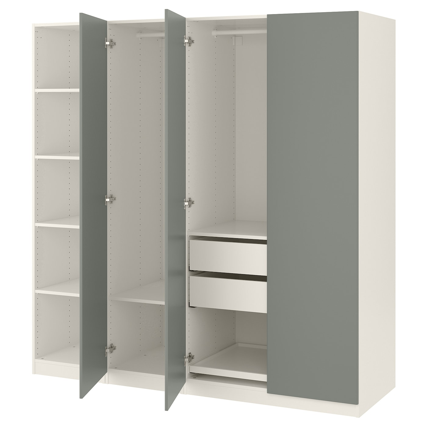 pax armoire penderie blanc reinsvoll gris vert 200 x 60 x 201 cm ikea. Black Bedroom Furniture Sets. Home Design Ideas