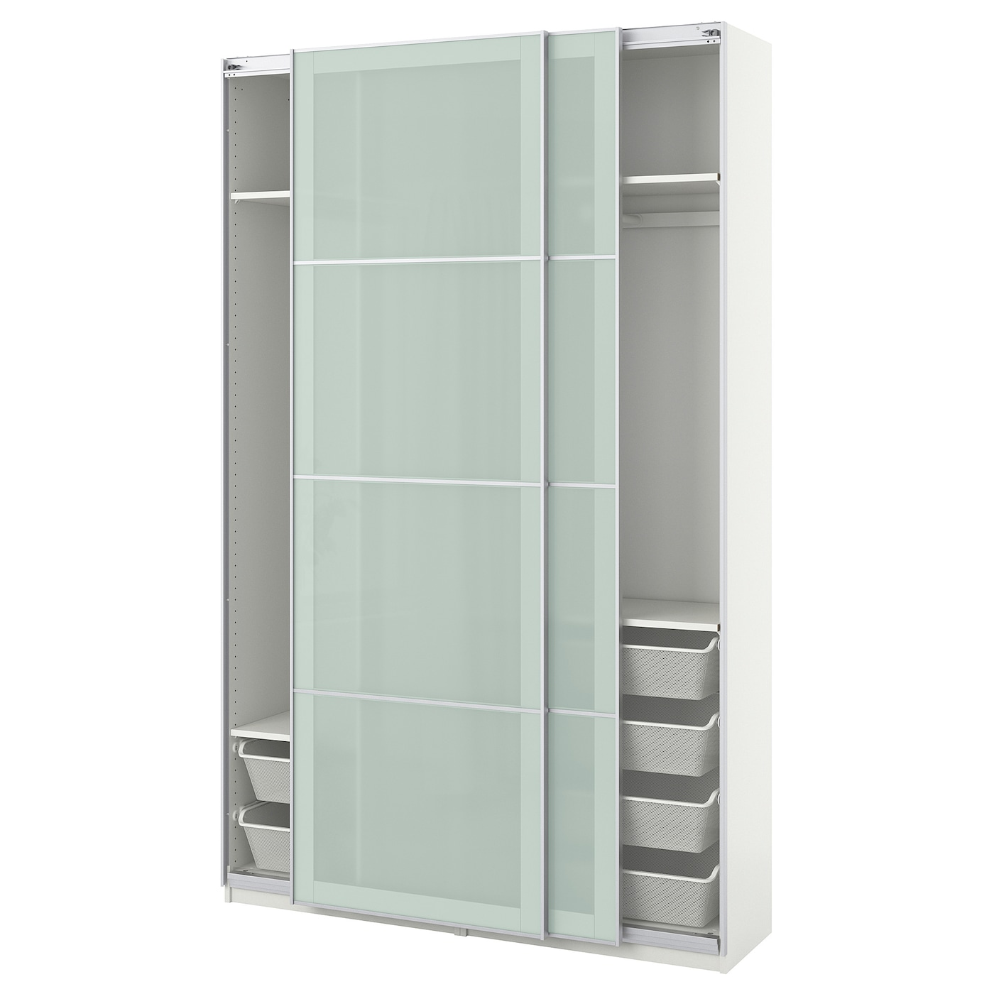 pax armoire penderie blanc sekken verre givr 150 x 44 x 236 cm ikea. Black Bedroom Furniture Sets. Home Design Ideas