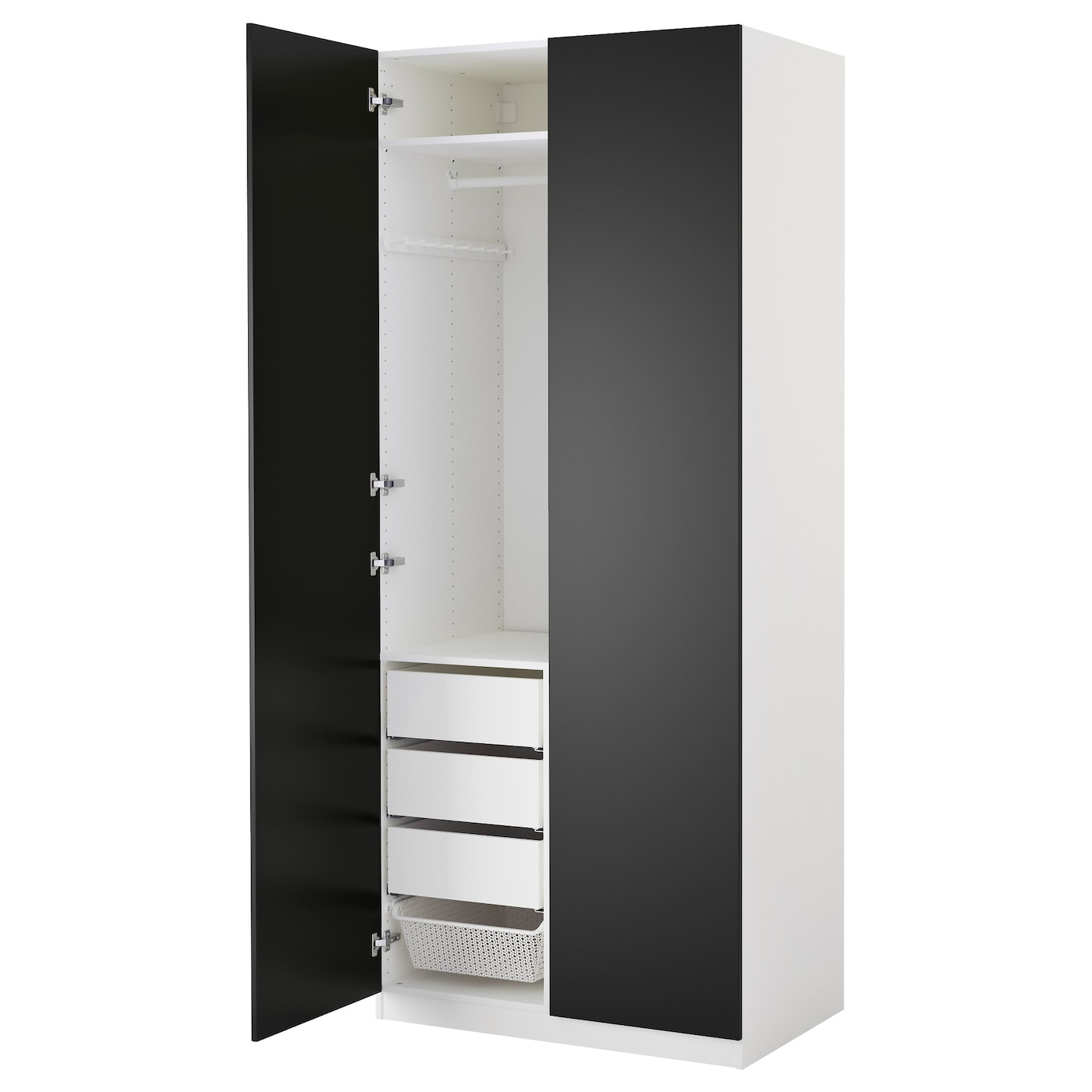 pax armoire penderie blanc tanem noir 100x60x236 cm ikea. Black Bedroom Furniture Sets. Home Design Ideas