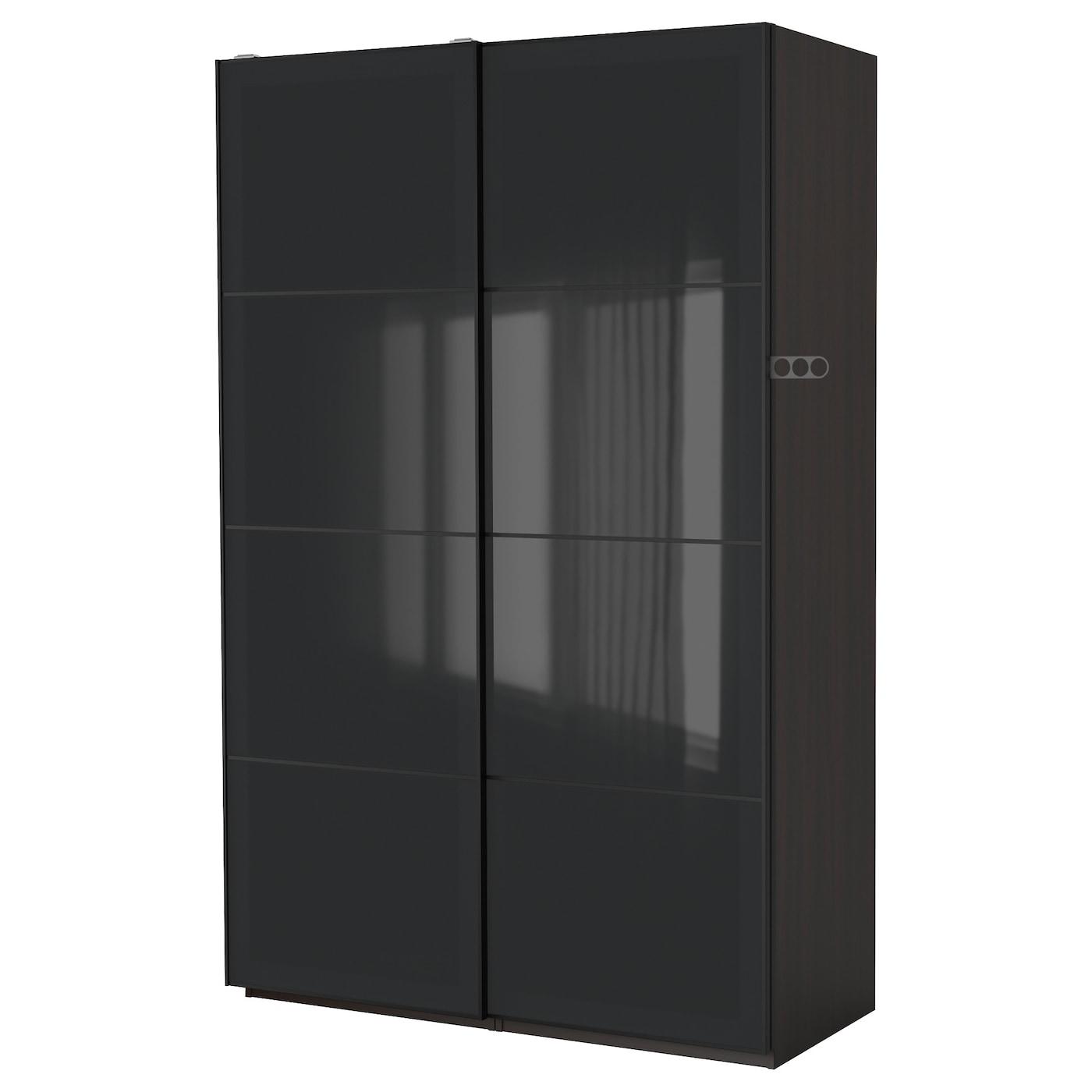 pax armoire penderie brun noir uggdal verre gris 150x66x236 cm ikea. Black Bedroom Furniture Sets. Home Design Ideas