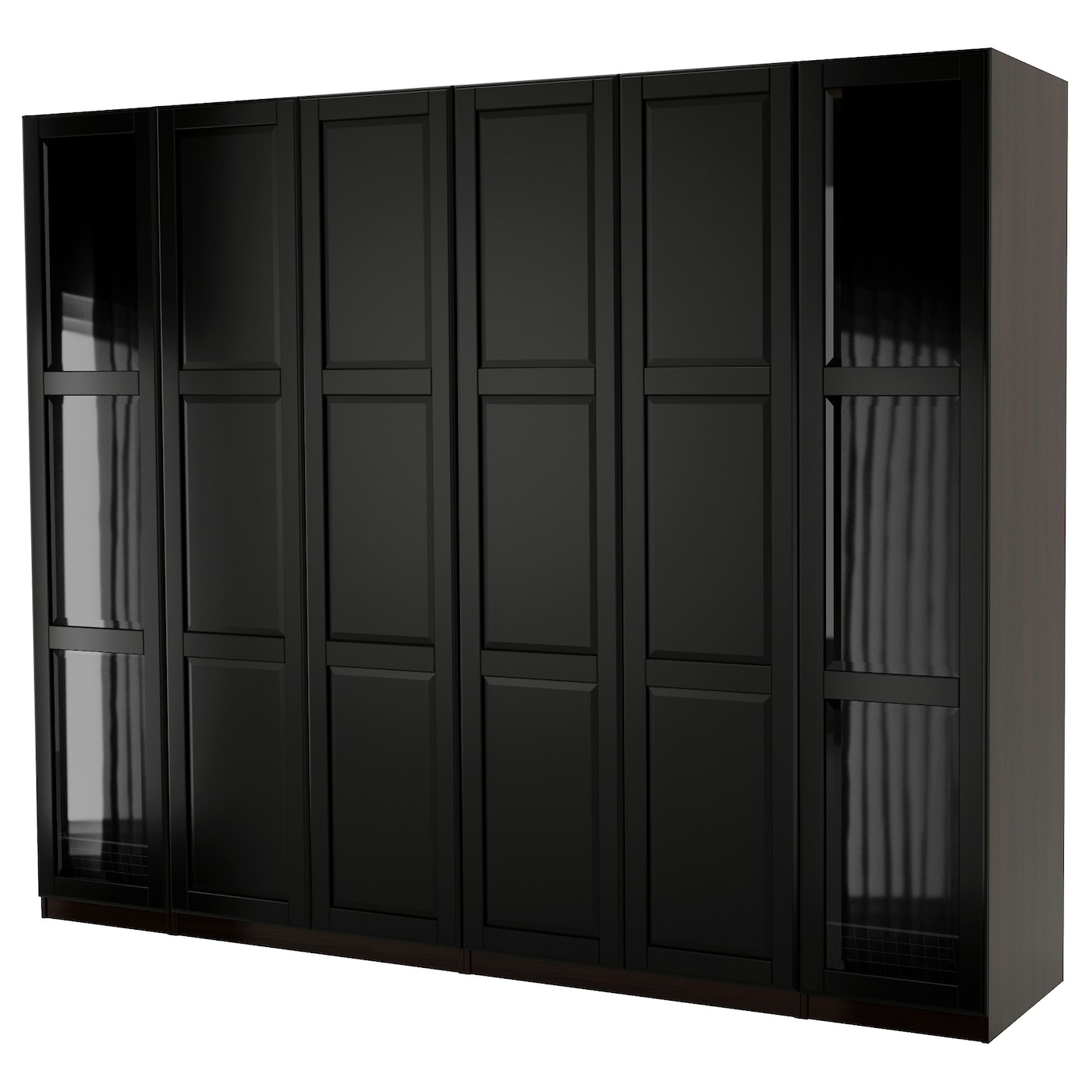 pax armoire penderie brun noir undredal undredal verre 300x60x236 cm ikea. Black Bedroom Furniture Sets. Home Design Ideas