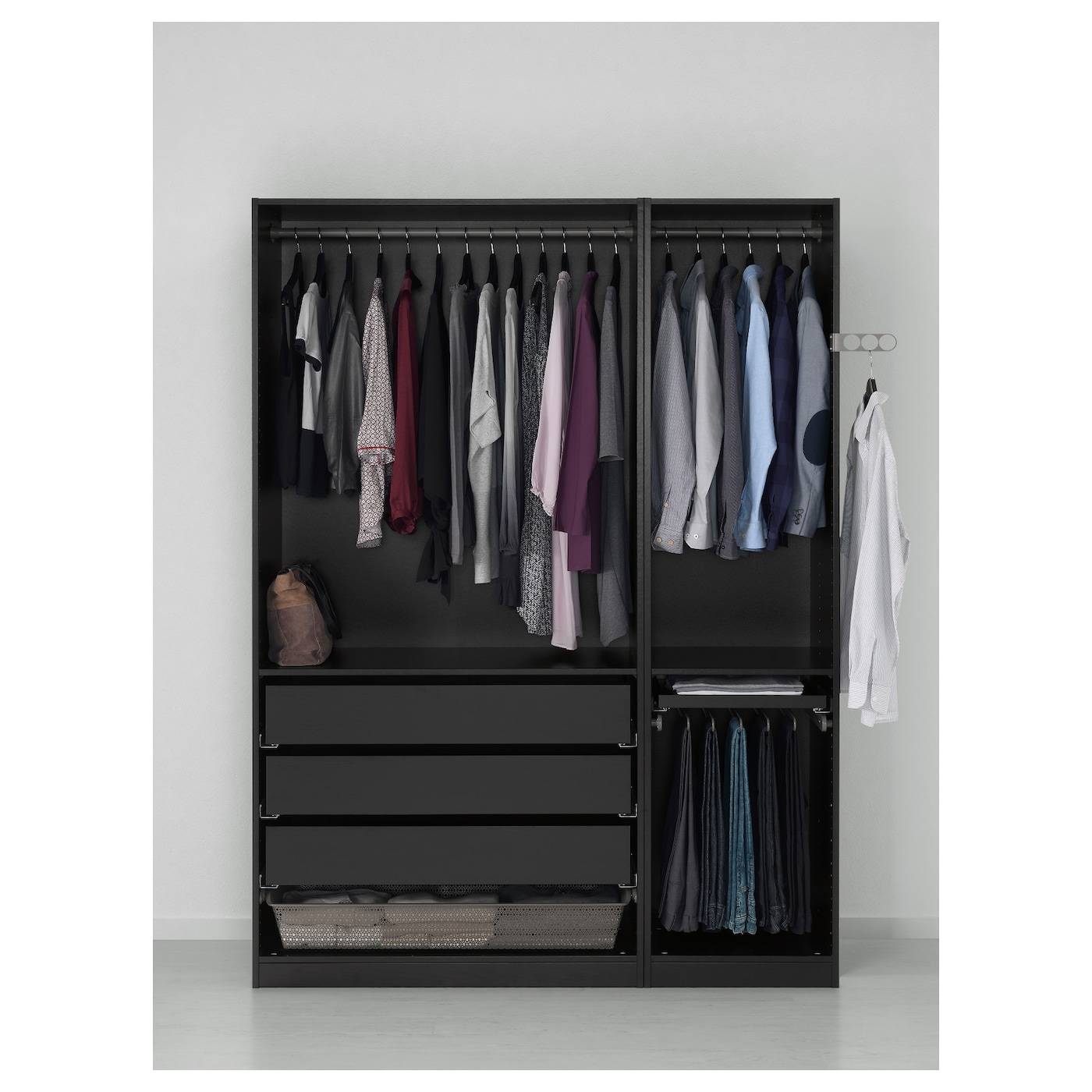 pax armoire penderie brun noir 150 x 58 x 201 cm ikea. Black Bedroom Furniture Sets. Home Design Ideas
