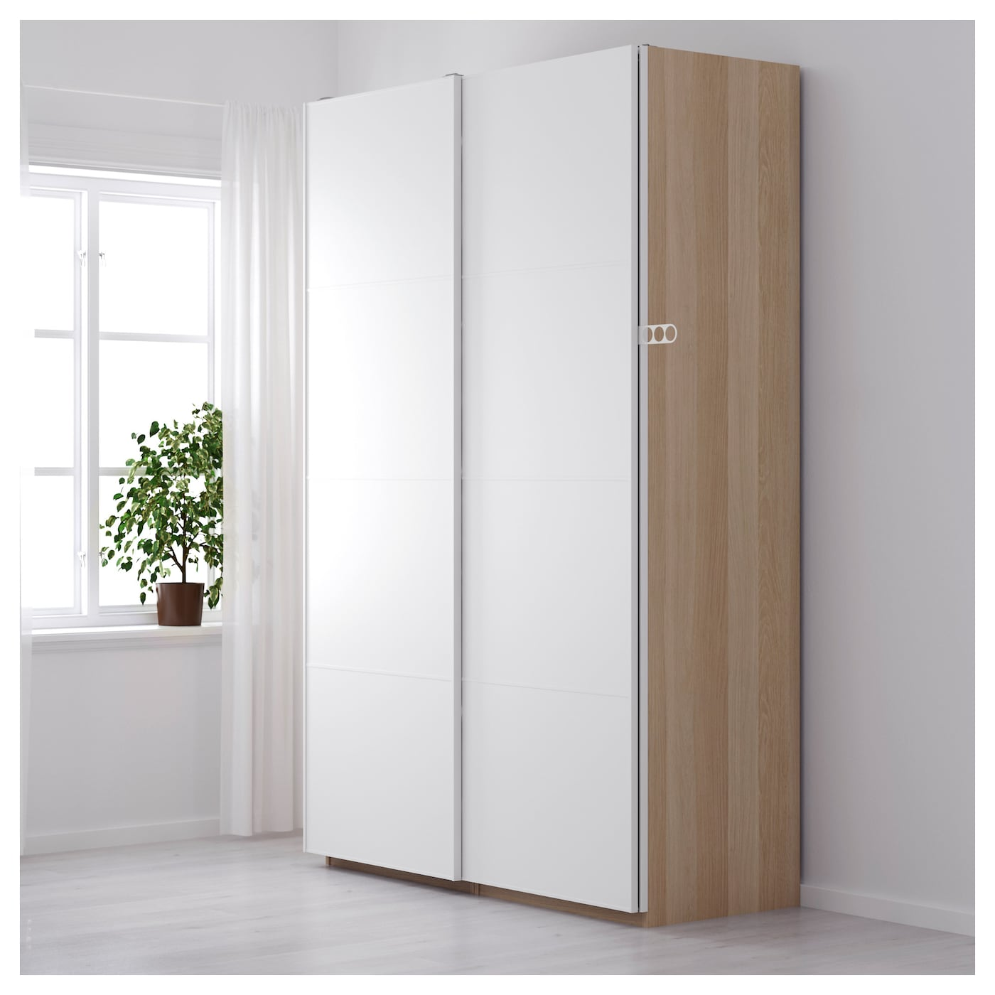 pax armoire penderie effet ch ne blanchi mehamn blanc 150x66x236 cm ikea. Black Bedroom Furniture Sets. Home Design Ideas