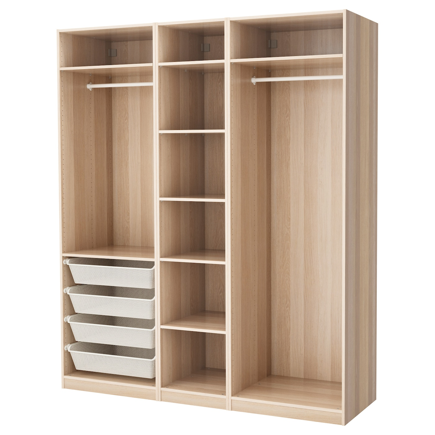 pax armoire penderie effet ch ne blanchi 200 x 58 x 236 cm ikea. Black Bedroom Furniture Sets. Home Design Ideas