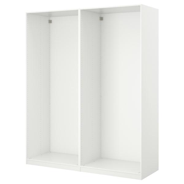 PAX Armoire pte coul, blanc/Auli miroir, 150x44x236 cm