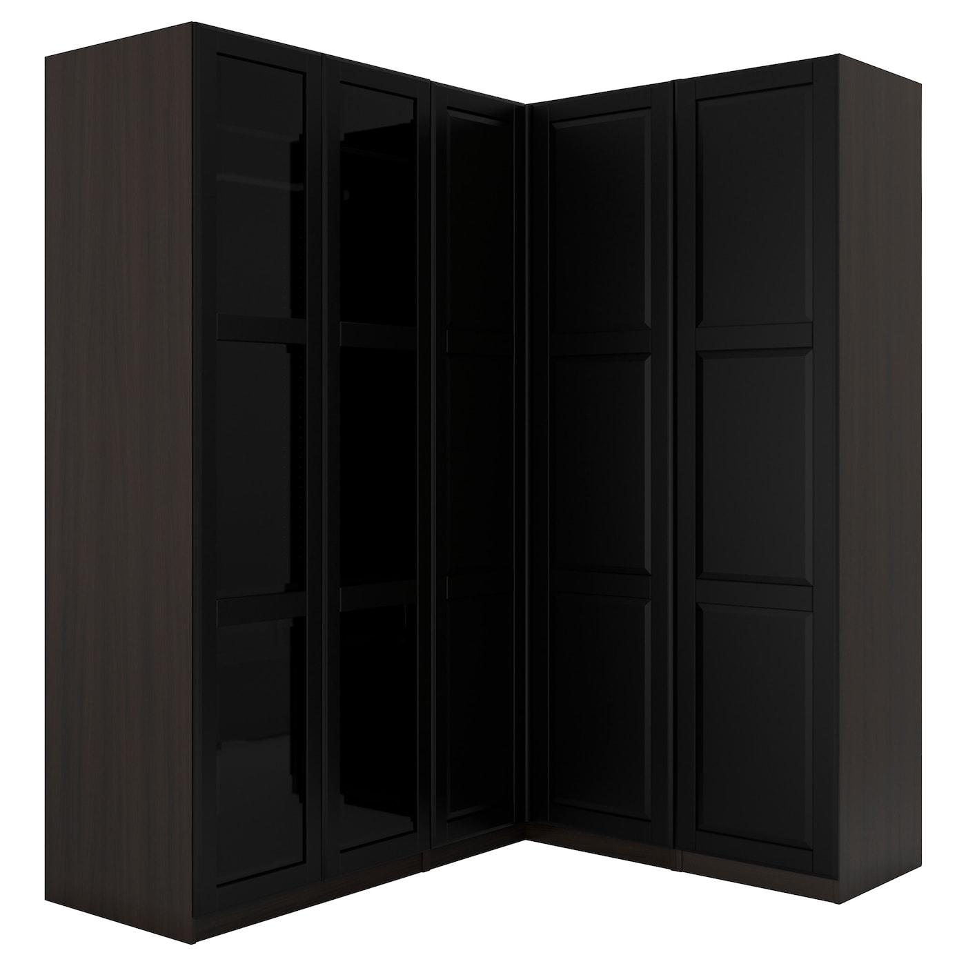 Pax penderie d 39 angle brun noir undredal undredal verre 210 160x236 cm ikea - Penderie d angle ...