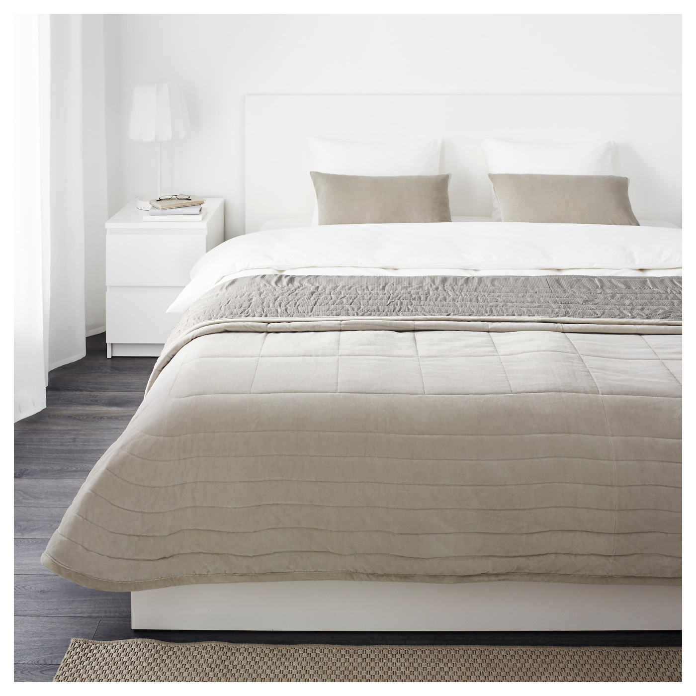 penningblad couvre lit et 2 housses coussin gris 260x280 40x65 cm ikea. Black Bedroom Furniture Sets. Home Design Ideas