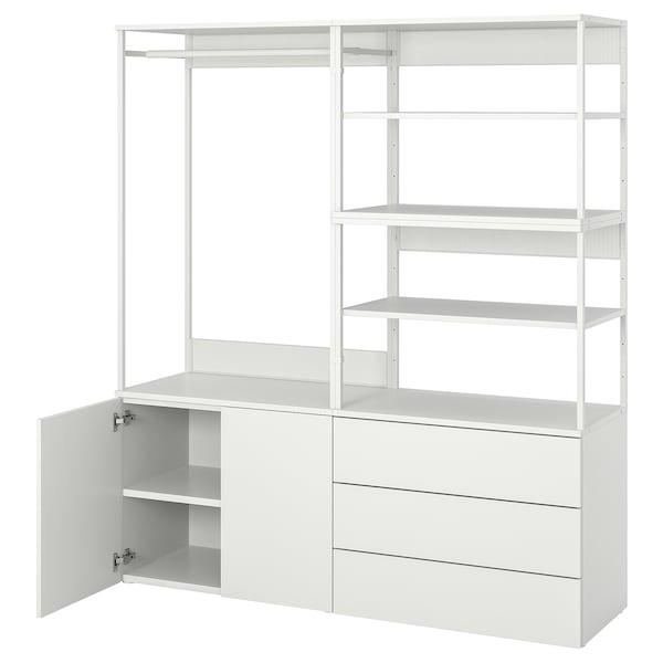 PLATSA Armoire 2 portes+3 tiroirs, blanc/Fonnes blanc, 160x42x181 cm