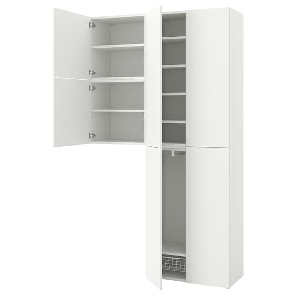 PLATSA Armoire 6 portes, Fonnes blanc, 140x42x241 cm