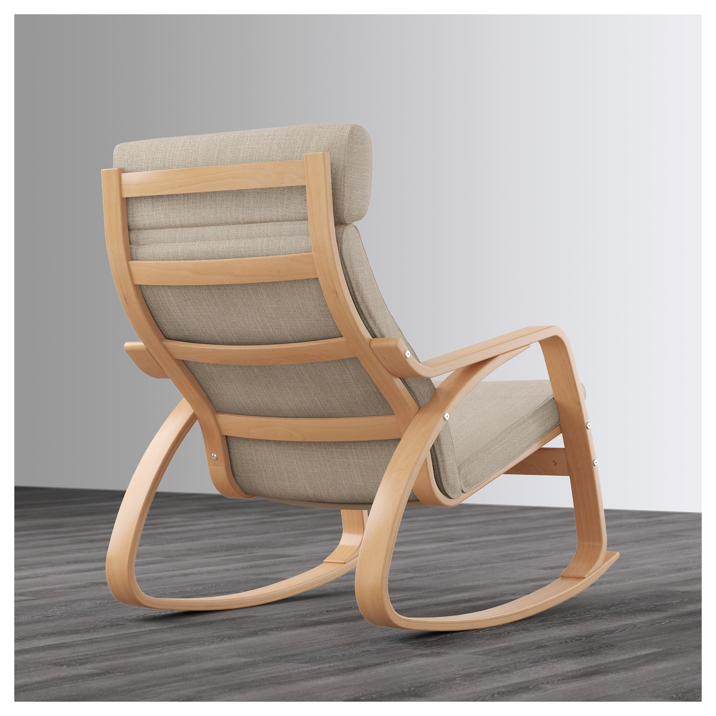 po ng fauteuil bascule plaqu h tre hillared beige ikea. Black Bedroom Furniture Sets. Home Design Ideas