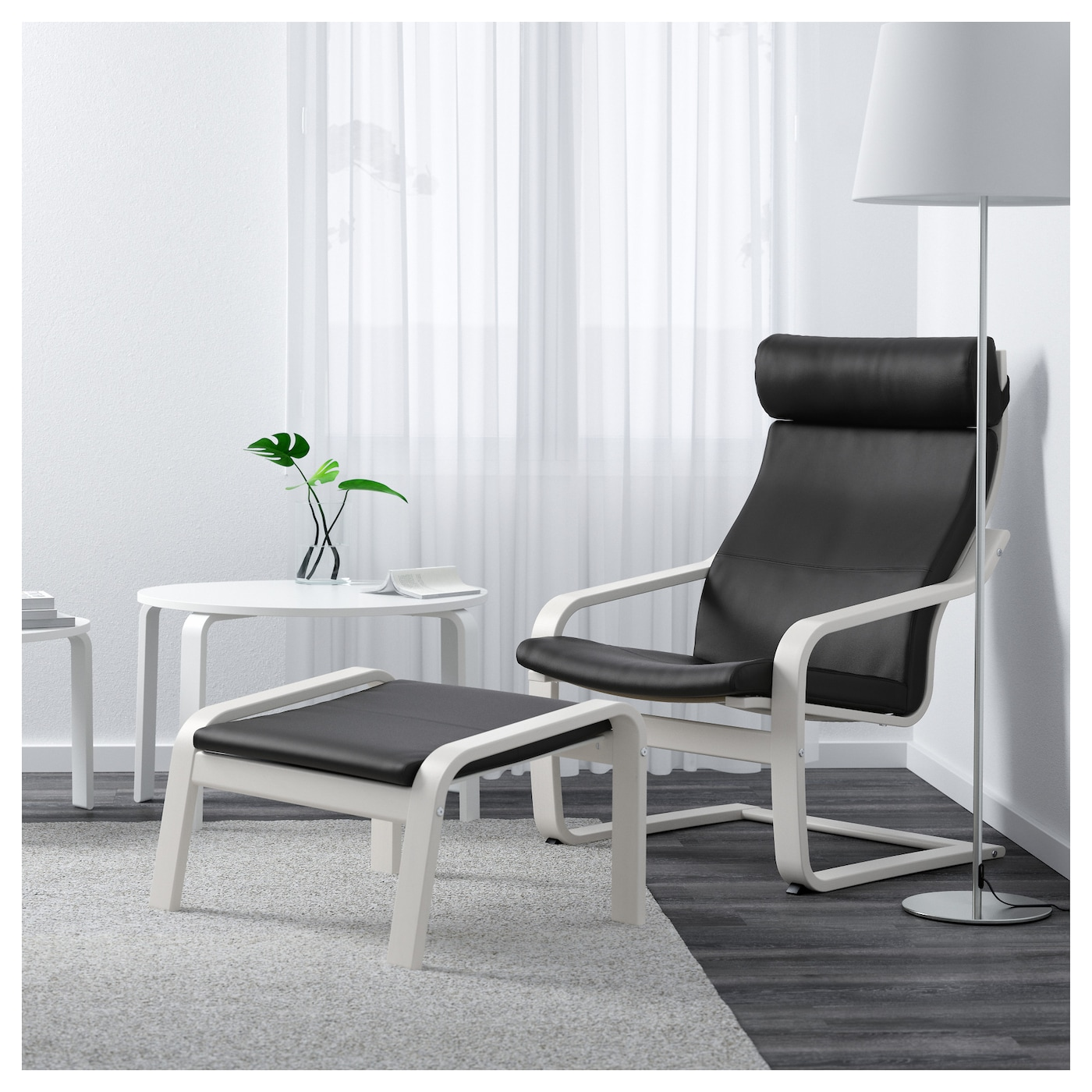 po ng fauteuil blanc smidig noir ikea. Black Bedroom Furniture Sets. Home Design Ideas