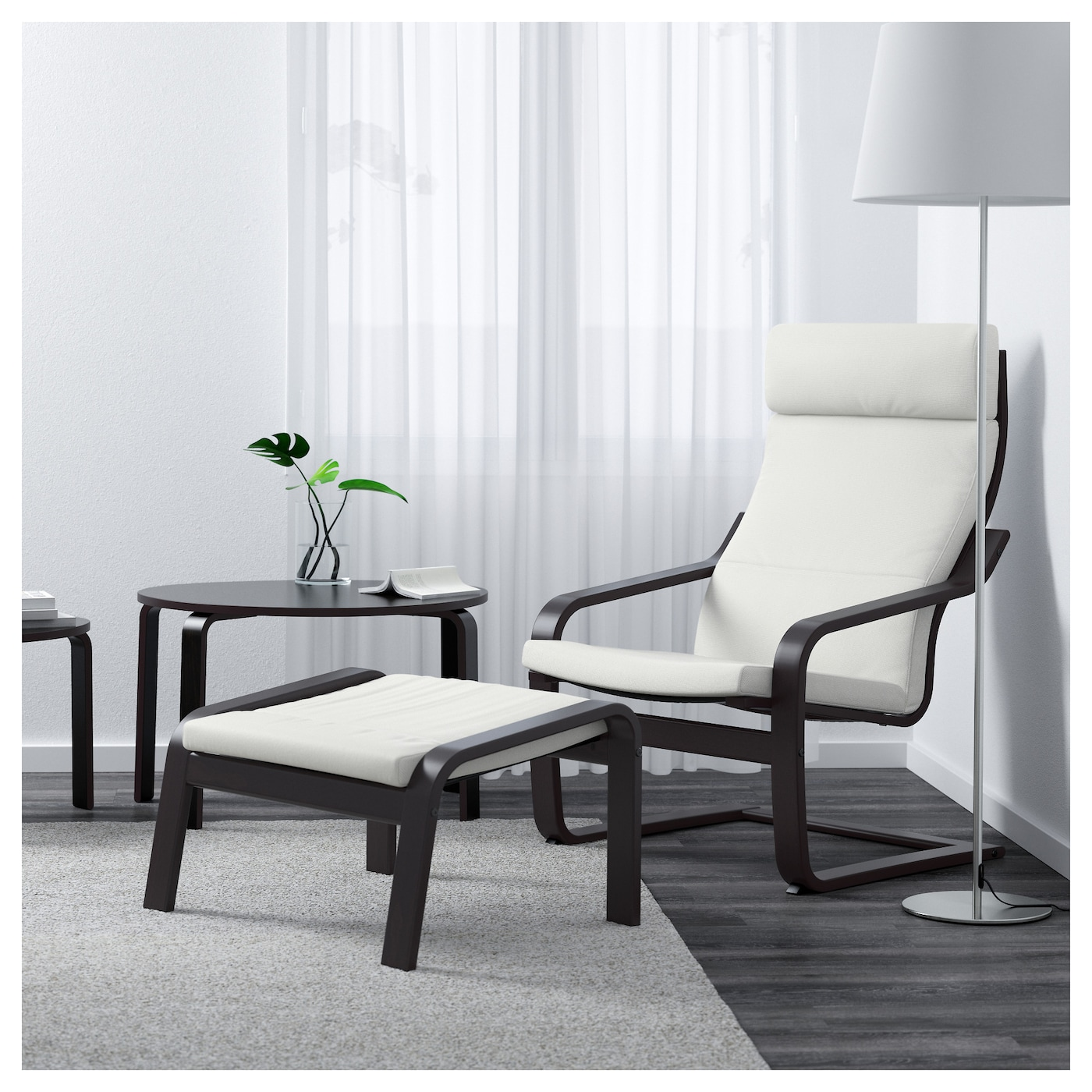 po ng fauteuil brun noir finnsta blanc ikea. Black Bedroom Furniture Sets. Home Design Ideas