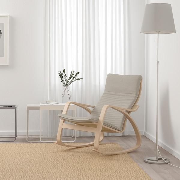 POÄNG Fauteuil à bascule, plaqué chêne blanchi/Knisa beige clair