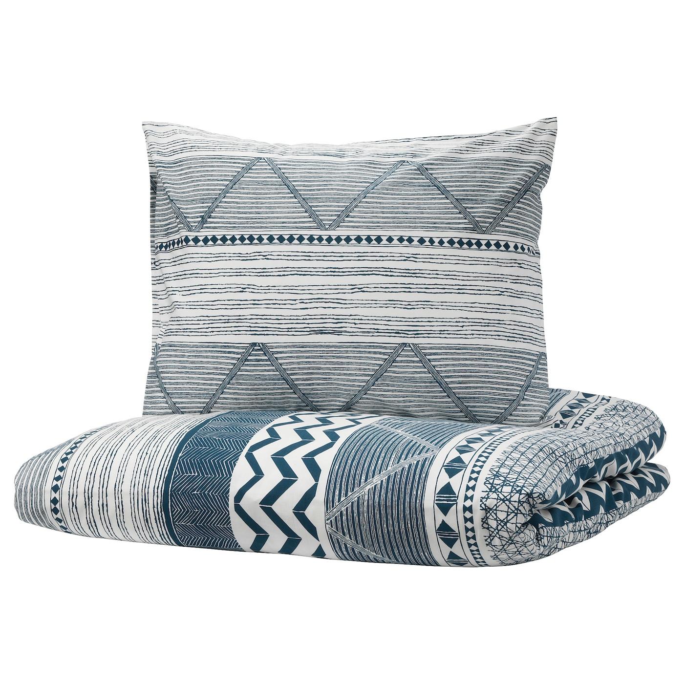 provinsros housse de couette et 2 taies blanc bleu 240 x 220 50 x 60 cm ikea. Black Bedroom Furniture Sets. Home Design Ideas