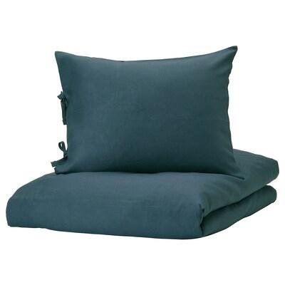 PUDERVIVA Housse de couette et 2 taies, bleu foncé, 240x220/50x60 cm