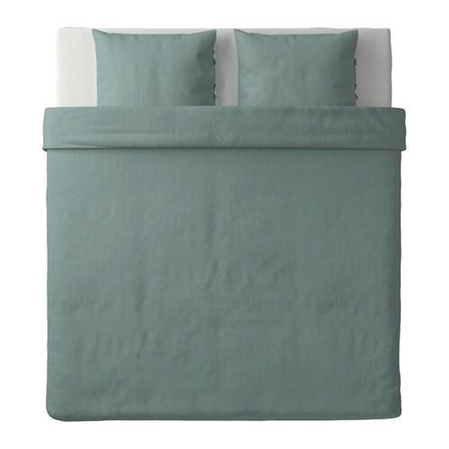 Puderviva housse de couette et 2 taies vert 240x220 50x60 - Housse de couette vert d eau ...
