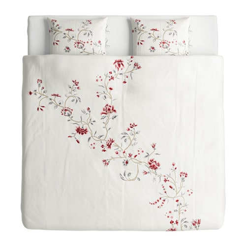 r dbinka housse de couette et 2 taies blanc motif floral 240x220 50x60 cm ikea. Black Bedroom Furniture Sets. Home Design Ideas