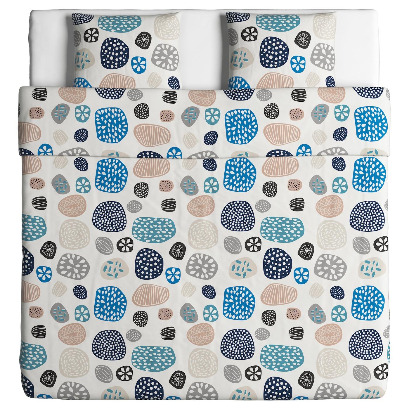 ringkrage housse de couette et 2 taies blanc multicolore 240x220 50x60 cm ikea. Black Bedroom Furniture Sets. Home Design Ideas