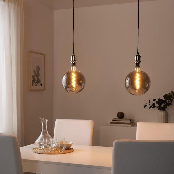 ROLLSBO Ampoule LED E27 200 lumen, intensité lumineuse réglable/globe verre gris transparent, 200 mm