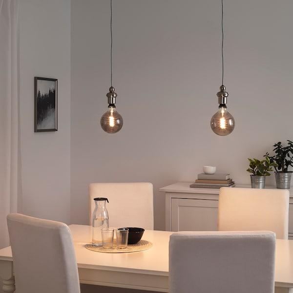 Rollsbo Gothem Suspension Avec Ampoule Globe Verre Gris Transparent Gris Fonc 233 Ikea