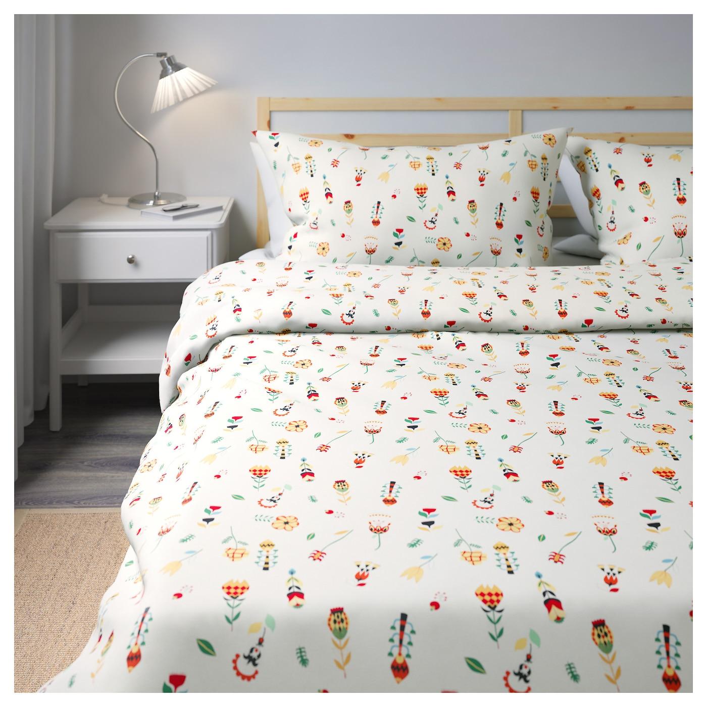 rosenfibbla housse de couette et 2 taies blanc motif floral 240x220 50x60 cm ikea. Black Bedroom Furniture Sets. Home Design Ideas
