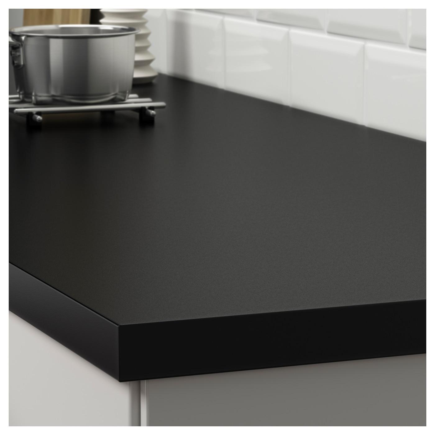s ljan plan de travail sur mesure noir stratifi 63 6 125x3 8 cm ikea. Black Bedroom Furniture Sets. Home Design Ideas