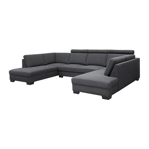 SÖRVALLEN Canapé En U Places Tenö Gris Foncé IKEA - Canapé gris 4 places