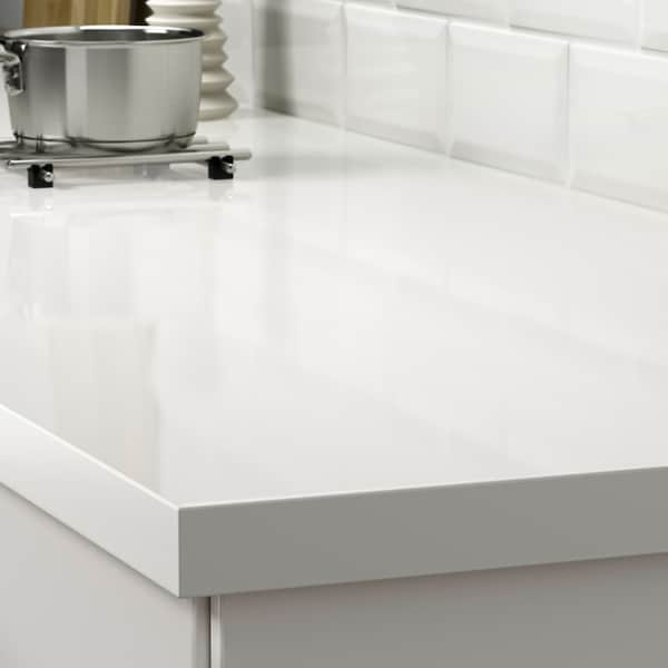 SÄLJAN plan de travail sur mesure blanc brillant/stratifié 100 cm 10 cm 400 cm 10 cm 45 cm 3.8 cm