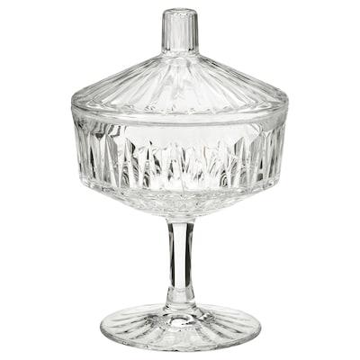 SÄLLSKAPLIG Bol avec couvercle, verre transparent/à motifs, 10 cm
