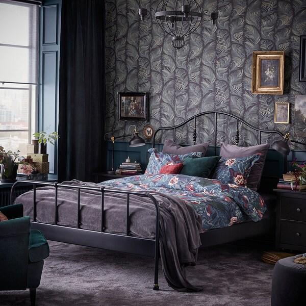 SAGSTUA Cadre de lit, noir/Leirsund, 160x200 cm