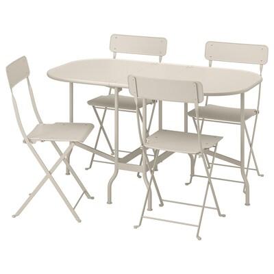 SALTHOLMEN table+4 chaises pliantes, extérieur beige