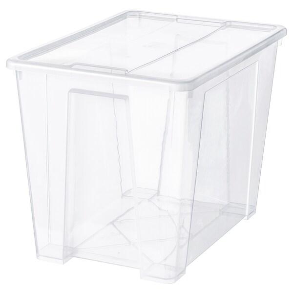 SAMLA boîte avec couvercle transparent 57 cm 39 cm 42 cm 65 l